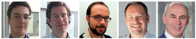 Dr. Alexander Kautzky, Dr. Thomas Vanicek, Dr. Konstantinos Papageorgiou, Assoc.-Prof. PD Dr. Rupert Lanzenberger und o. Univ.-Prof. Dr. h.c. mult. Dr. Siegfried Kasper (v.l.n.r.) Universitätsklinik für Psychiatrie und Psychotherapie, Wien